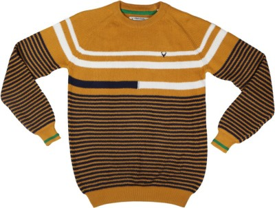 Allen Solly Striped Round Neck Casual Girl's Yellow Sweater