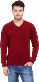 Red Tape Solid V-neck Casual Men Maroon Sweater