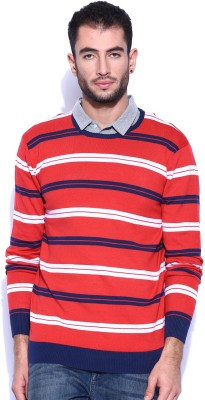 Kook N Keech Striped Round Neck Casual Men's Red Sweater