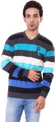 Pierre Carlo Striped V-neck Casual Men's Grey Sweater