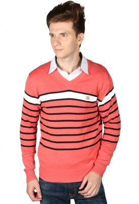 Again Striped V-neck Casual Men's Pink Sweater