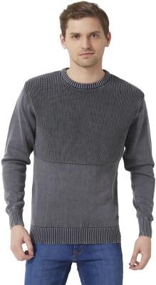 Peter England Self Design Round Neck Men's Grey Sweater