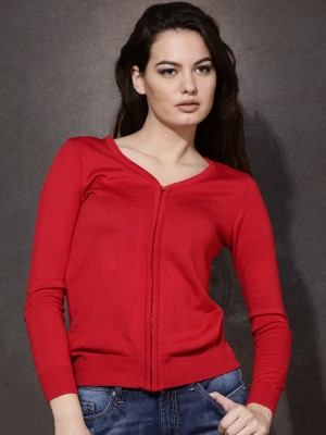 Roadster Solid V-neck Casual Women's Red Sweater