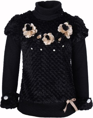 Cutecumber Embellished Turtle Neck Party Girl's Black Sweater