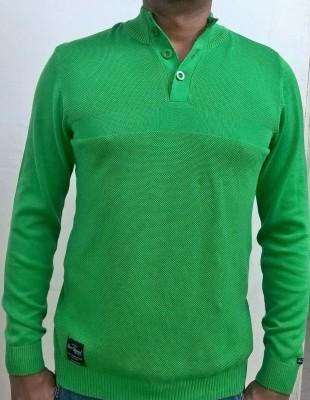 Locus Classicus Solid Turtle Neck Men's Light Green Sweater