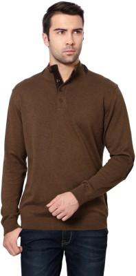 Van Heusen Self Design Round Neck Men's Brown Sweater