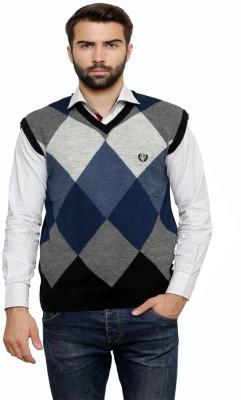 Leebonee Argyle V-neck Casual Men's Black Sweater