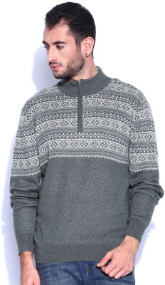 Kook N Keech Self Design Turtle Neck Casual Men's Grey Sweater