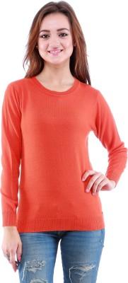 Dove Self Design Round Neck Women's Orange Sweater