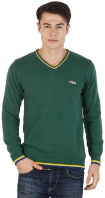 Fila Solid V-neck Sports Men's Green, Blue, Yellow Sweater