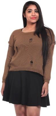 Saiints Solid Scoop Neck Casual Women's Brown Sweater