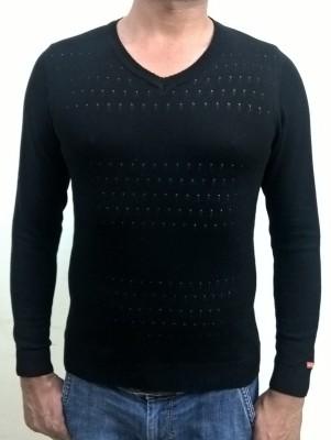 Locus Classicus Solid V-neck Men's Black Sweater