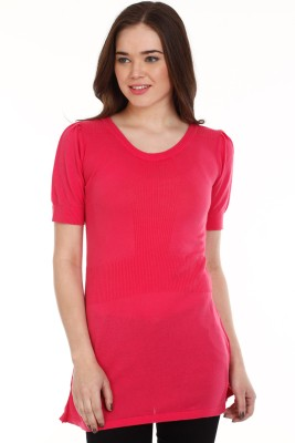 Mustard Solid Round Neck Casual Women's Pink Sweater