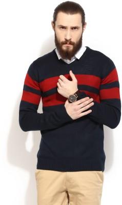 COBB Striped V-neck Casual Men's Maroon Sweater