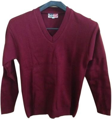 Rajindras Solid V-neck Casual Men's Maroon Sweater