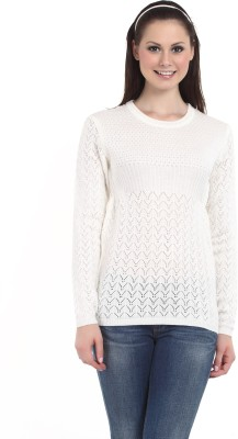 Miss Grace Self Design Round Neck Casual Women's White Sweater