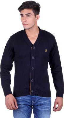 eWools Solid V-neck Party Men's Dark Blue Sweater