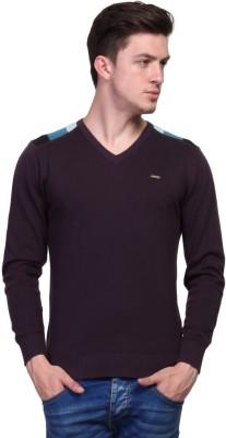 TSAVO Solid, Applique Turtle Neck Casual Men's Purple Sweater