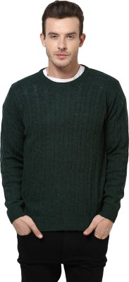 Yepme Solid Round Neck Casual Men,s Green Sweater