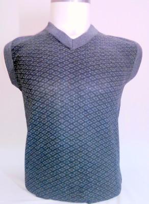ADK Solid V-neck Men's Grey Sweater