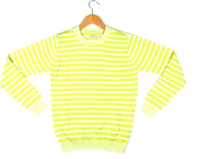 Allen Solly Striped Round Neck Girl's Green Sweater