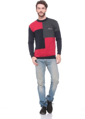 Pro Riders Striped Round Neck Casual Men's Black, Grey, Red Sweater