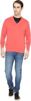 Wrangler Solid V-neck Casual Men's Pink Sweater