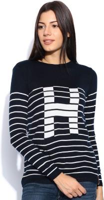 Harvard Striped Round Neck Casual Women,s Dark Blue Sweater