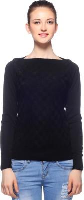 Fasnoya Woven Round Neck Casual Women's Black Sweater