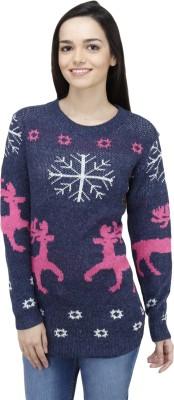 Camey Printed Round Neck Women's Dark Blue Sweater