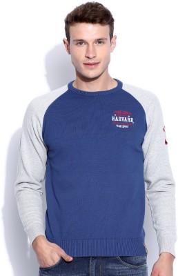 Harvard Solid Round Neck Men's Blue Sweater