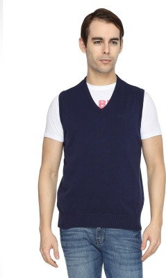 Wrangler Solid V-neck Casual Men's Dark Blue, Grey Sweater