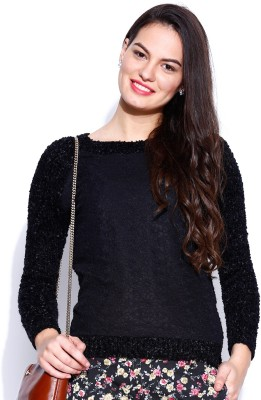 Dressberry Self Design Round Neck Casual Women's Black Sweater