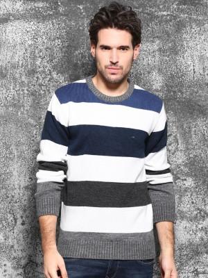 WROGN Self Design Round Neck Casual Men's Dark Blue Sweater