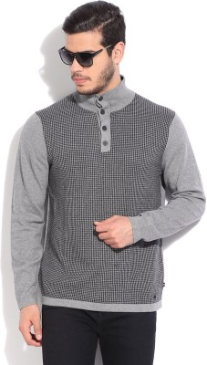 Nautica Self Design Casual Men Black, Grey Sweater