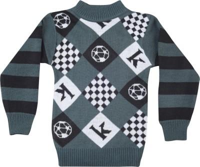 Addyvero Geometric Print Round Neck Casual Boy's Multicolor Sweater