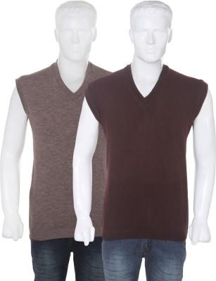 Vivek Solid V-neck Casual Men's Reversible Purple, Grey Sweater