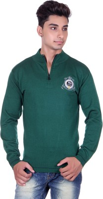 True Life Solid Turtle Neck Casual Men's Green Sweater