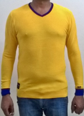 Locus Classicus Solid V-neck Men's Yellow Sweater