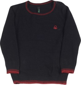United Colors of Benetton Solid Round Neck Casual Boys Black Sweater