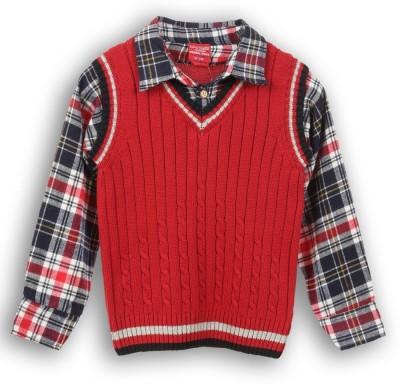 Lilliput Self Design V-neck Casual Boy's Red Sweater