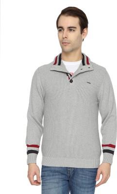 Wrangler Solid Turtle Neck Casual Men's Grey Sweater