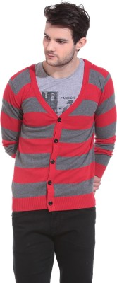 Claude 9 Solid V-neck Casual Men's Red, Grey Sweater