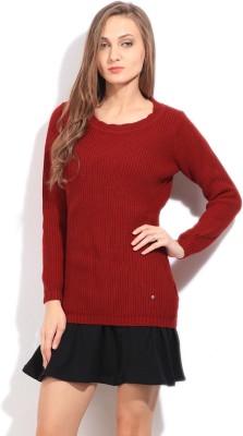 Arrow Self Design Round Neck Casual Women's Red Sweater