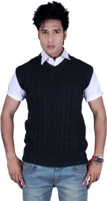 Deutz Solid, Self Design V-neck Casual Men's Dark Blue Sweater