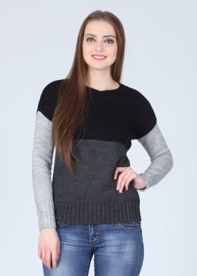 Arrow Solid Round Neck Casual Women's Black, Grey Sweater