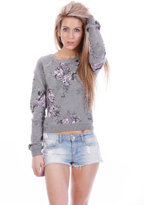 All About Eve Floral Print Round Neck Casual Women's Grey Sweater