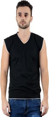Gdivine Solid V-neck Casual Men's Black Sweater