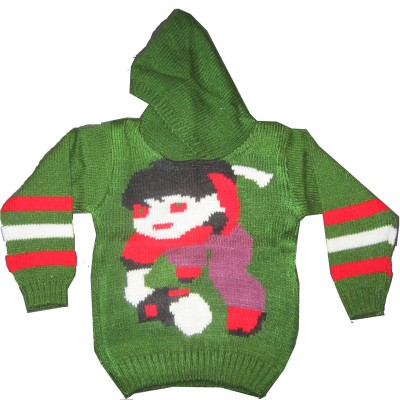 Ishu Self Design Round Neck Casual Baby Boy,s, Baby Girl's Green, Multicolor Sweater