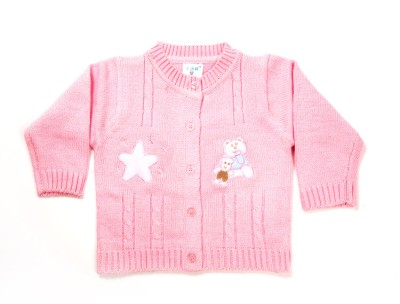 Zonko Style Self Design Round Neck Casual Boy's Pink Sweater